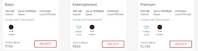Airtel fiber broadband plans in India