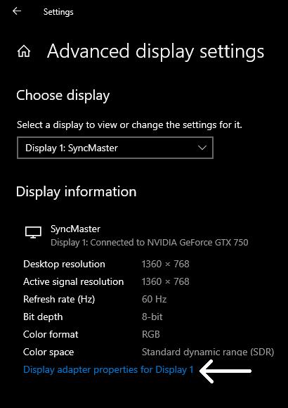 Display adapter settings in window 10