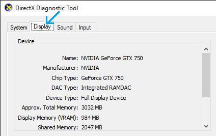 Display option on Directx Diagnostic Tool