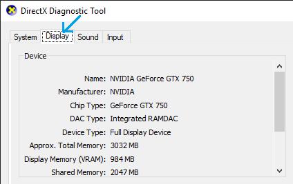 Display option on Directx Diagnostic Tool