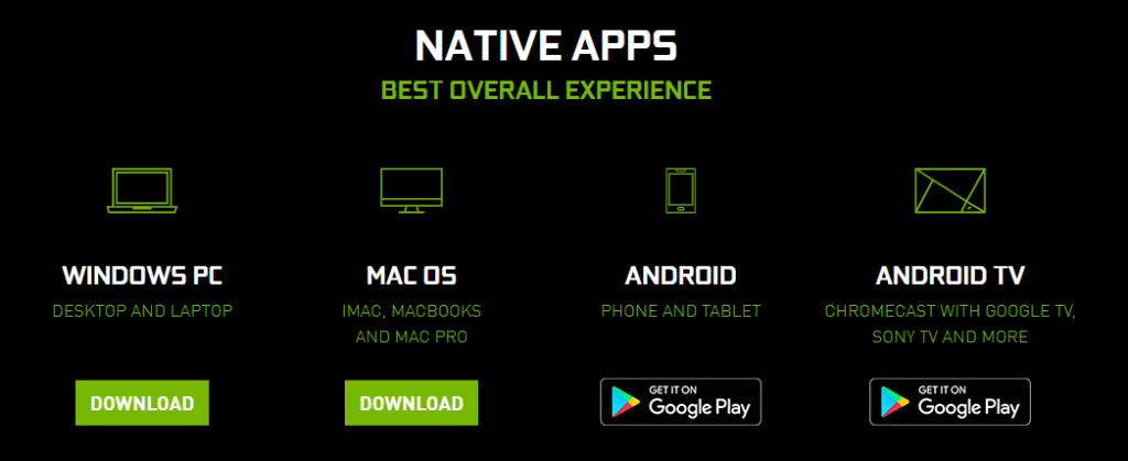 Nvidia GeForce Now Download Page