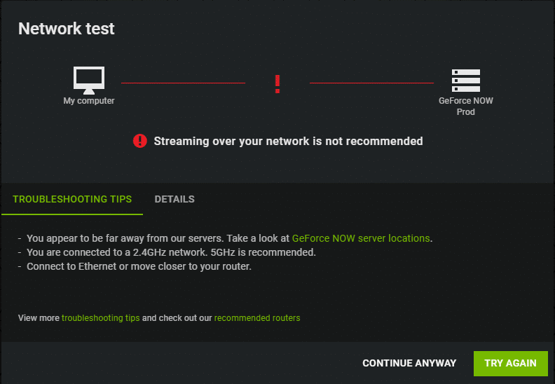 Nvidia GeForce Now Network Test