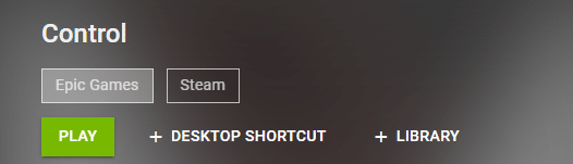 Nvidia GeForce Now search page