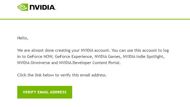 Nvidia Verification Email
